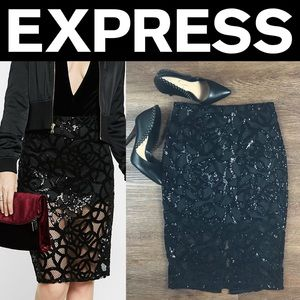 ✨NWT✨Express Black Lace & Sequin Pencil Skirt